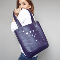 Purple leather tote bag. Summer leather shoulder bag. Painted leather purse.