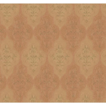 York Wallcoverings RG5008 Fresco Pumpkin, Mustard Gold and Silver Moroccan Damask Wallpaper