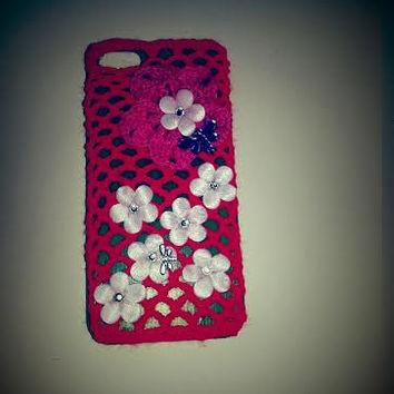 SALE, Phone Case, iPhone 5 Case, Plastic Case with Crochet Accessory, Crochet Cover, Decorated Cover