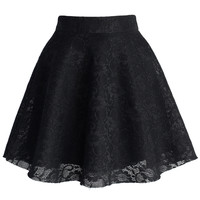 Black Full Lace Skater Skirt Black M