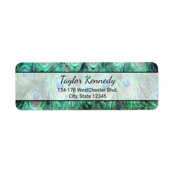 Peacock Feathers Exotic Wild Watercolor Pattern Label