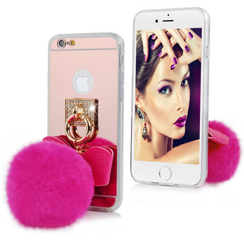 Luxury Bling Bow Fur Ball Pendant Mirror Phone Case For iPhone 5 5S 6 6S Plus Soft Cover For Samsung Galaxy S6 Edge Plus Note 5