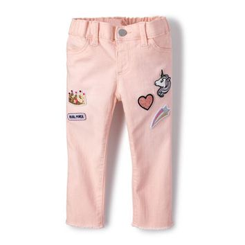 Baby And Toddler Girls Embellished Patch Denim Jeans