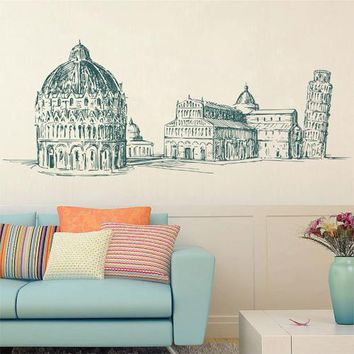 ik2683 Wall Decal Sticker Pisa Italy Tower city hall bedroom