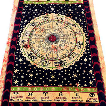 astrology zodiac hippie tapestries wall hanging twin cotton bedspread bohemian boho bedding throw ethnic indian decorative art