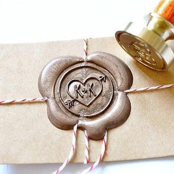 Custom Wax Seal Stamp   Initials Heart & Arrow X 1