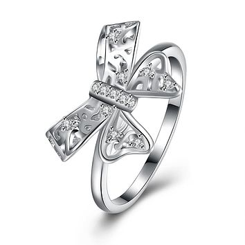 925 Sterling Silver Unique Casual Rings Swarovski Bow-Tie Cocktail Ring