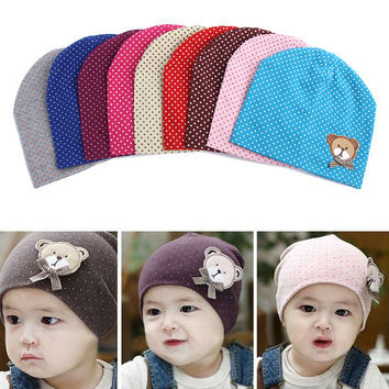 2016 Dot Pattern Baby Hat Winter Knitted Baby Beanies For Child Kids Boys Girls Toddler Cotton Cap Infants Hat