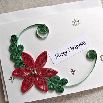 handmade paper quilled  Christmas card – Merry  Christmas poinsettia