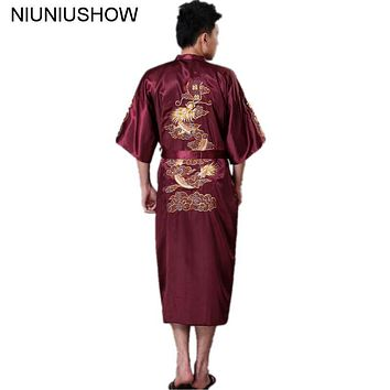 High Quality Burgundy Traditional Chinese Men's Silk Satin Robe Embroidery Dragon Kimono Yukata Bath Gown S M L XL XXL XXXL Z006
