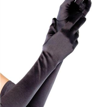 ESBI7E Extra Long Satin Gloves in BLACK