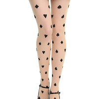 Card Suits Print Sheer Tights