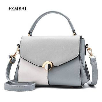 FZMBAI Womens Vintage Leather Handbag New Trend Cross-body Color Block Bags