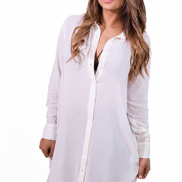 Cecico Boyfriend Shirt Dress - White