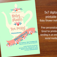 Tea Party Baby Shower Invitations, Printable digital,  Tea Party Invites, Gender Neutral Baby Shower Invitations, 5x7 baby shower invitation