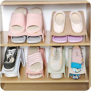 Plastic Space Save Storage Shelf Home Furniture Shoe Organizer Living Room Convenient Shoes Stand Shelf
