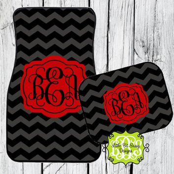 Car Mats Chevron Personalized Monogrammed Floor Car Mat Initial Black Gray Red