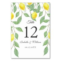 Modern Boho Watercolor Lemon Summer Wedding Table Card