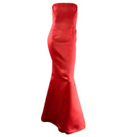 Stunning Vintage Bill Blass Lipstick Red Strapless Silk Mermaid Dress / Gown