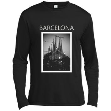 Barcelona Sagrada Familia black and white photo Long Sleeve Moisture Absorbing Shirt
