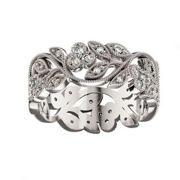 Leaf Ring Twig Ring Flower Ring Floral Band Filigree Ring Gold Ring Milgrain Ring Wedding band Diamond Ring Engraved Ring