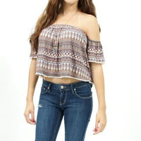 Tribal print elastic tube crop top with elastic off should sleeve