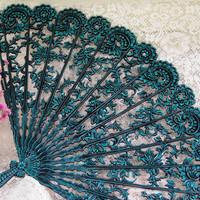 Vintage Burwood Wall Fan Black and Teal Spanish Fan Wall Hanging Gothic Wall Décor