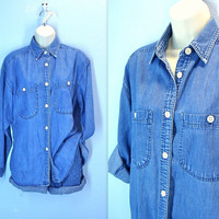 Vintage 80s Denim Shirt / Mens Shirt / Boyfriend Shirt / the Limited