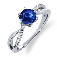1.25 Ct Round Blue Sapphire 925 Sterling Silver Ring