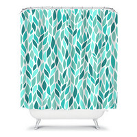 Turquoise Shower Curtain Flower Petal Leaf Vine Teal Aqua Colors Floral Pattern Bathroom Bath Polyester Made in the USA