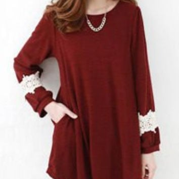 Wine Red Lace Long Sleeve Blouse