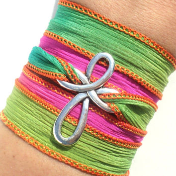 Cross Bracelet, Silk Wrap, Wrap Bracelet, Cross Jewelry, Bohemian Jewelry, Hippie Jewelry, Christmas, Stocking Stuffer, Free Spirit, Cross