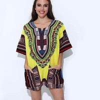 Unisex Yellow Classic Cotton Tops Traditional African Clothing for Women Shirt Summer Print Blouses