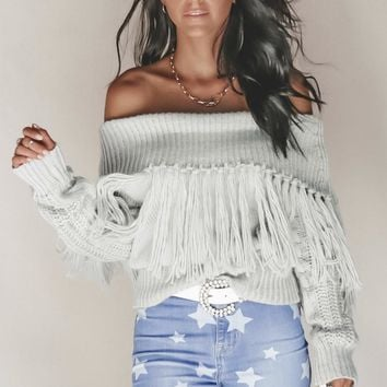 Independent Gray Off Shoulder Fringe Sweater