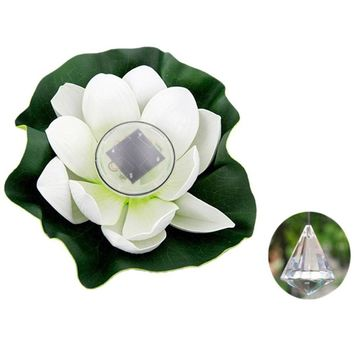 Solar Outdoor Floating Lotus Light Pool Pond Garden Water Flower LED Lamp
