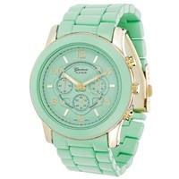 Ladies Geneva Boyfriend Chronograph Link Watch - Mint Green
