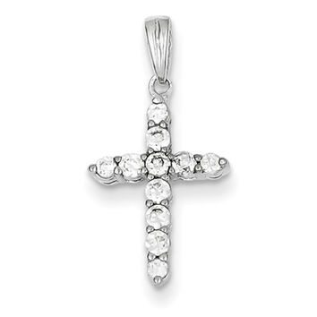 925 Sterling Silver 22mm Multiple Prong Set CZ Girls Cross Pendant
