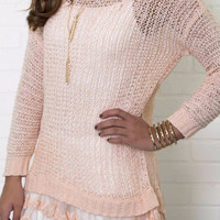 Visions Of Love Peach Tunic Sweater