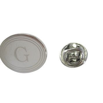 Silver Toned Etched Oval Letter G Monogram Lapel Pin