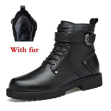 Fall/Winter Genuine Black Leather Men's Boot-With/Without Lining