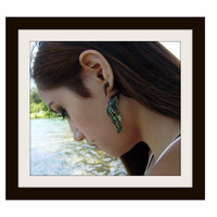 Fake Gauge Earrings ,Tribal Style, Mother of pearl, Shell, feather,Gold Shell,hand carved,organic