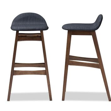 Baxton Studio Bloom Mid-century Retro Modern Scandinavian Style Dark Blue Fabric Upholstered Walnut Wood Finishing 30-Inches Bar Stool Set of 2