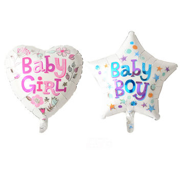 Girl heart Boy star happy birthday foil balloons birthday party decoration globos one hundred days party supplies baby shower