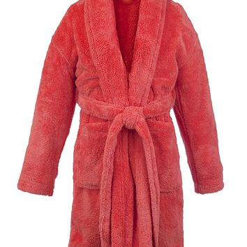 Kids Microfiber Fleece Shawl Robe - Boys - Coral - Large