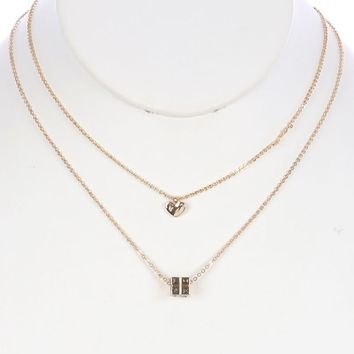 Gold 2 Pc Rubiks Cube Charm Chain Necklace