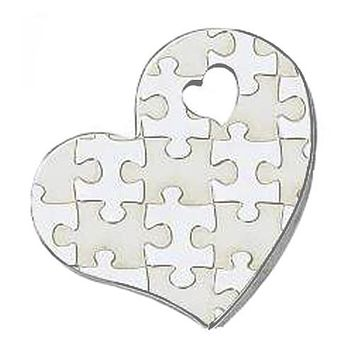 Autism Awareness Puzzle-Design Heart Shape Stainless Steel Pendant