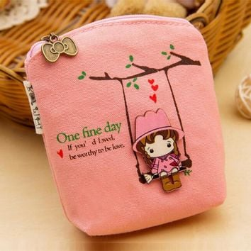 M088 Cute Women Purses Creative Cartoon The Little Girl On The Swing Quality Canvas Fabric Data Line Coin Purse Card Bag