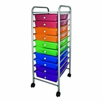 Advantus 10-Drawer Rolling Organizer, 37.6 x 13 x 15.4 Inches, Multi-Colored (AVT34004)