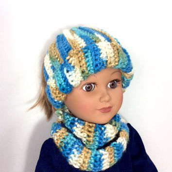 18 Inch Doll Messy Bun Hat with Infinity Scarf, Blue, Brown, Cream Ponytail Beanie and Scarf, Crocheted Doll Hat, Scarf, Winter Doll Clothes