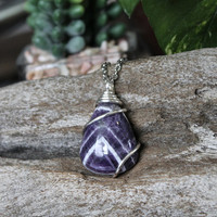 Chevron Amethyst Necklace, Purple Crystal Jewelry, Wire Wrapped Gemstone Pendant, Hippie Style Festival Fashion, Bridesmaid Gift for Her